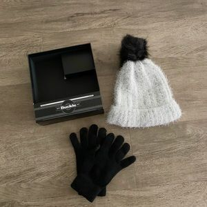 Buckle beanie And gloves set